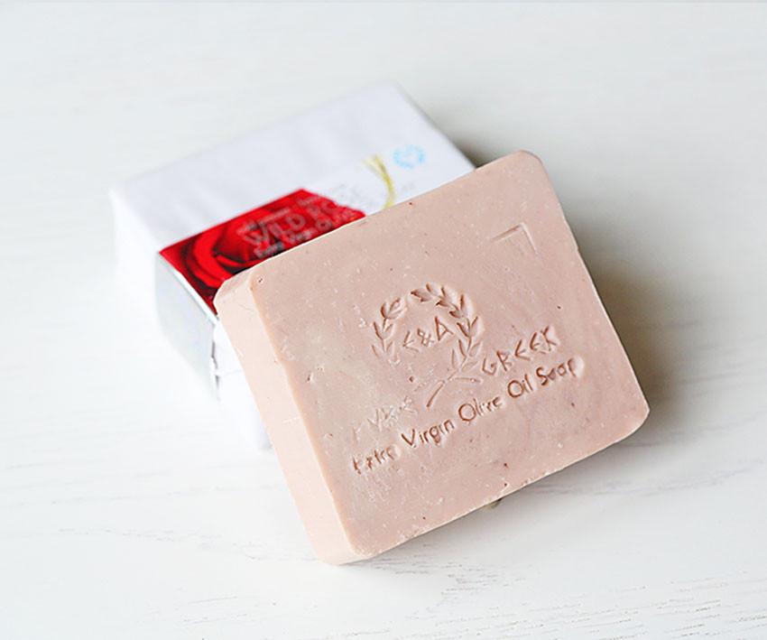 Органическое оливковое мыло ручной работы Дикая роза (E&A Pure Beauty), 120g., Греция