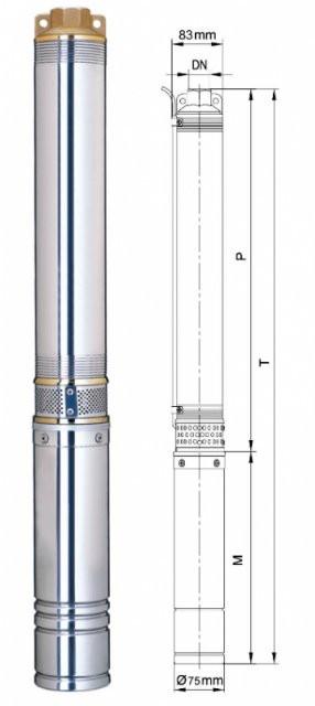 Насос центробежный Dongyin 3SDm1.8/20 0.55кВт H 84(60)м Q 45(30)л/мин Ø75мм