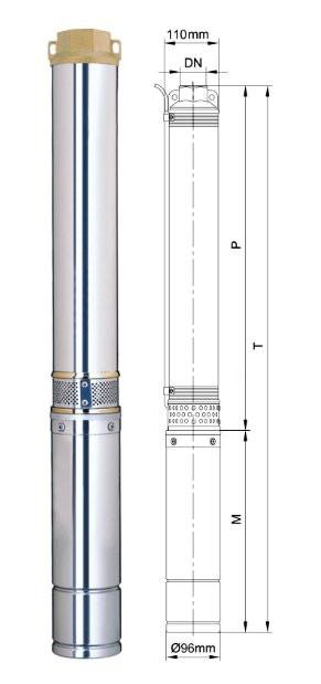 Насос центробежный Dongyin 4SDm2/14 0.75кВт H 98(77)м Q 55(35)л/мин Ø96мм