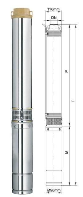Насос центробежный Dongyin 4SEm2/6 0.25кВт H 42(36)м Q 55(30)л/мин Ø96мм 30м кабеля