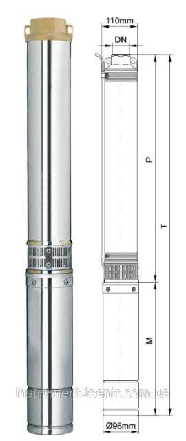 Насос центробежный Dongyin 4SEm2/19 1.1кВт H 126(108)м Q 55(30)л/мин Ø96мм 70м кабеля