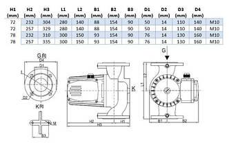 Насос циркуляционный Aquatica 774198 фланц 1.3кВт Hmax 20.3м Qmax 300л/мин DN50 280мм + ответн флан, фото 3