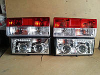 Передние+задние фары на ВАЗ 2107 №2 хромированные.