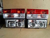 Передние+задние фары на ВАЗ 2107 №2 хромированные., фото 1