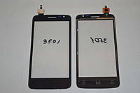 Оригинальный тачскрин / сенсор (сенсорное стекло) для Prestigio MultiPhone 3501 Duo (черный цвет, самоклейка)