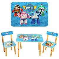 Детский столик со стульчиками Робокар Поли 501-12, дерево, МДФ, ламинированная столешница, от 3 лет