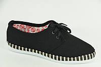 Мокасины текстиль черные (кеды, комфорт) Размер 37, 38, 39