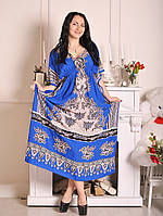 Женское платье для дома синего цвета 097