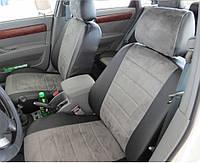 Авточехлы экокожа+алькантара для BMW E-60 2003-10 г. цельная спинка.