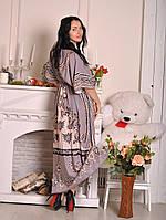 Легкое женское платье для дома в пол серого цвета 097