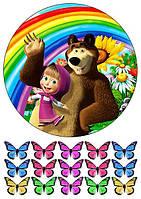 Вафельная картинка для тортов Маша и Медведь 27