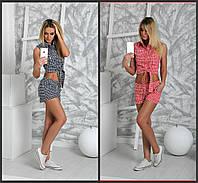 Женский костюм: топ с завязкой и шорты в клетку (2 цвета)