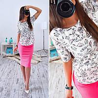 Женская стильная блуза с карикатурами