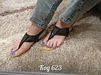 Босоножки на низком ходу сандали через палец черные, фото 1