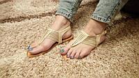 Босоножки на низком ходу сандали через палец бежевые, фото 1