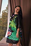 Женское шелковое кимано с цветочным принтом