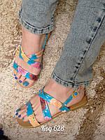 Босоножки на низком ходу сандали с цветочками голубые, фото 1
