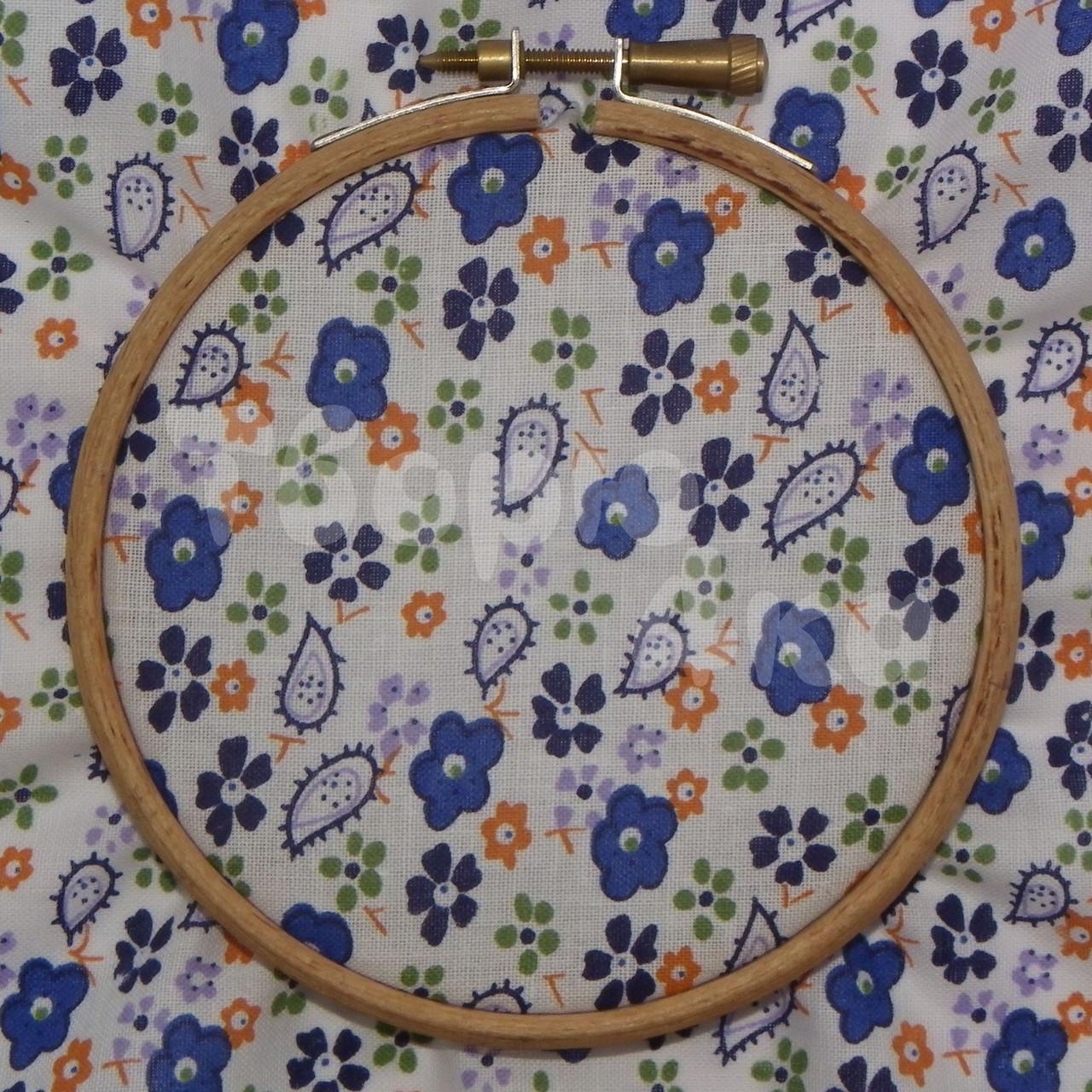 Ткань для пэчворка, кукл тильда в синий цветочек