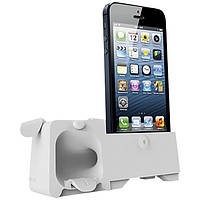 Подставка-усилитель iPhone SE/5S/5 OZAKI O!music Zoo Dog B белый, OM936GB