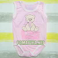 Детский боди-майка р. 80 ткань КУЛИР 100% тонкий хлопок ТМ Финтекс 3104 Розовый