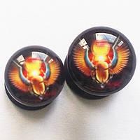 """Акрилові плаги """"Золоті крила"""" (діаметр 4, 5 мм) для пірсингу вух.(ціна за 1шт), фото 1"""