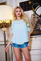 Легкая Летняя Блуза из Шифона Голубая S-XL