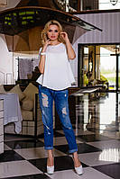 Легкая Летняя Блуза из Шифона Белая S-XL