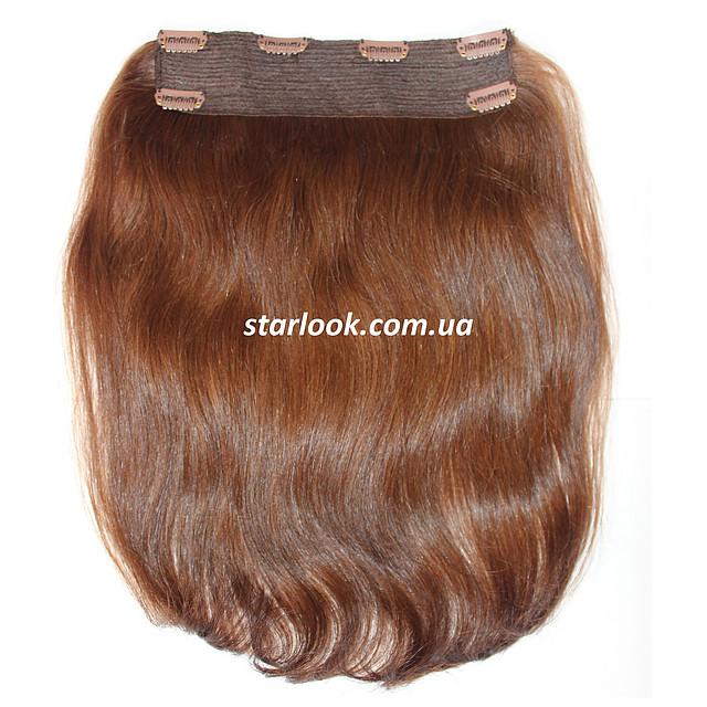Натуральные славянские волосы на заколках 40 см. Оттенок №8. Масса: 90 грамм.
