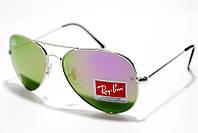 Солнцезащитные очки Рей Бен Aviator Стекло 3025 B16 SM 00731, зелёные капли Рей Бен в серебристой оправе