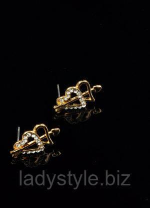 """Серьги - гвоздики """"Два сердца"""" от Студии  www.LadyStyle.Biz"""