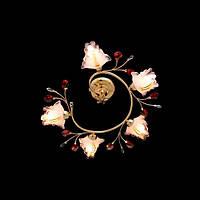 Спиральная люстра с плафонами-цветками