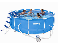 Bw круглый каркасный бассейн steel pro frame pool 56260 (366 х 100см) с фильтр-насосом 220v (2006 л/ч) zn hn
