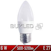 Светодиодная лампа 6Вт, 220 В, E27, 500-520 Лм, C37