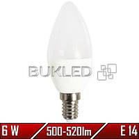 Светодиодная лампа 6Вт, 220 В, E14, 500-520 Лм, C37