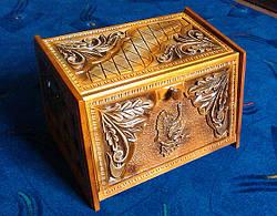 Хлебница из натурального дерева в резьбе, фото 2