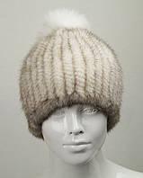 Норковая шапка женская с помпоном бежевая F-003