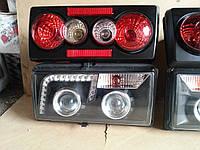 Тюнинг на ВАЗ 2107 передние + задние фары №11 черные., фото 1