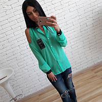 Шифоновая блуза-рубашка с вырезами на плечах