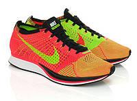 Женские кроссовки Nike Flyknit Racer orange-green, фото 1