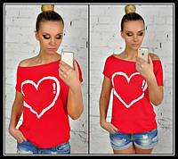 Футболка женская Сердце красная