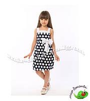 """Летнее хлопковое платье для девочки """"Ангелина мелкий горох"""" оптом р.104-128 (5 шт в ростовке) темно-синий"""