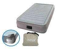 Надувная кровать с насосом Intex Comfort-Plush Mid Rise Airbed 67766: 191*99*33см, 5,5 кг, серая