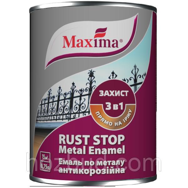 """Емаль антикорозійна по металу 3 в 1 ТМ """"Maxima"""", гладка (чорний RAL 9005) 20 л"""