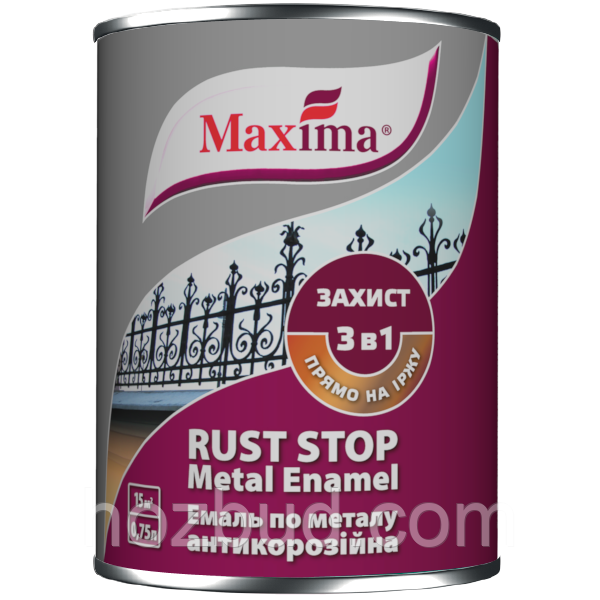 """Эмаль антикоррозийная по металлу 3 в 1 TM """"Maxima"""", гладкая (вишневая RAL 3005) 20 л"""