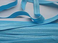 Трикотажная бейка, резинка, светло-голубая, 16 мм