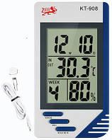 Цифровой термометр, измеритель влажности, часы КТ-908, фото 1