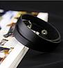 Кожаный браслет в три оборота черный