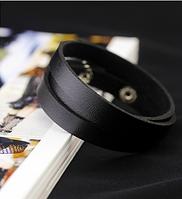 Кожаный браслет в три оборота черный, фото 1