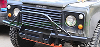 """Бампер трубный передний для Land Rover Defender 90/110/130 с кенгурятником типа """"ДЕЛЬТА"""""""