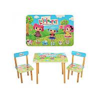 Красочный детский столик и стульчики из дерева Lalaloopsy 501-3 для детей от 3 лет, МДФ с ламинированием